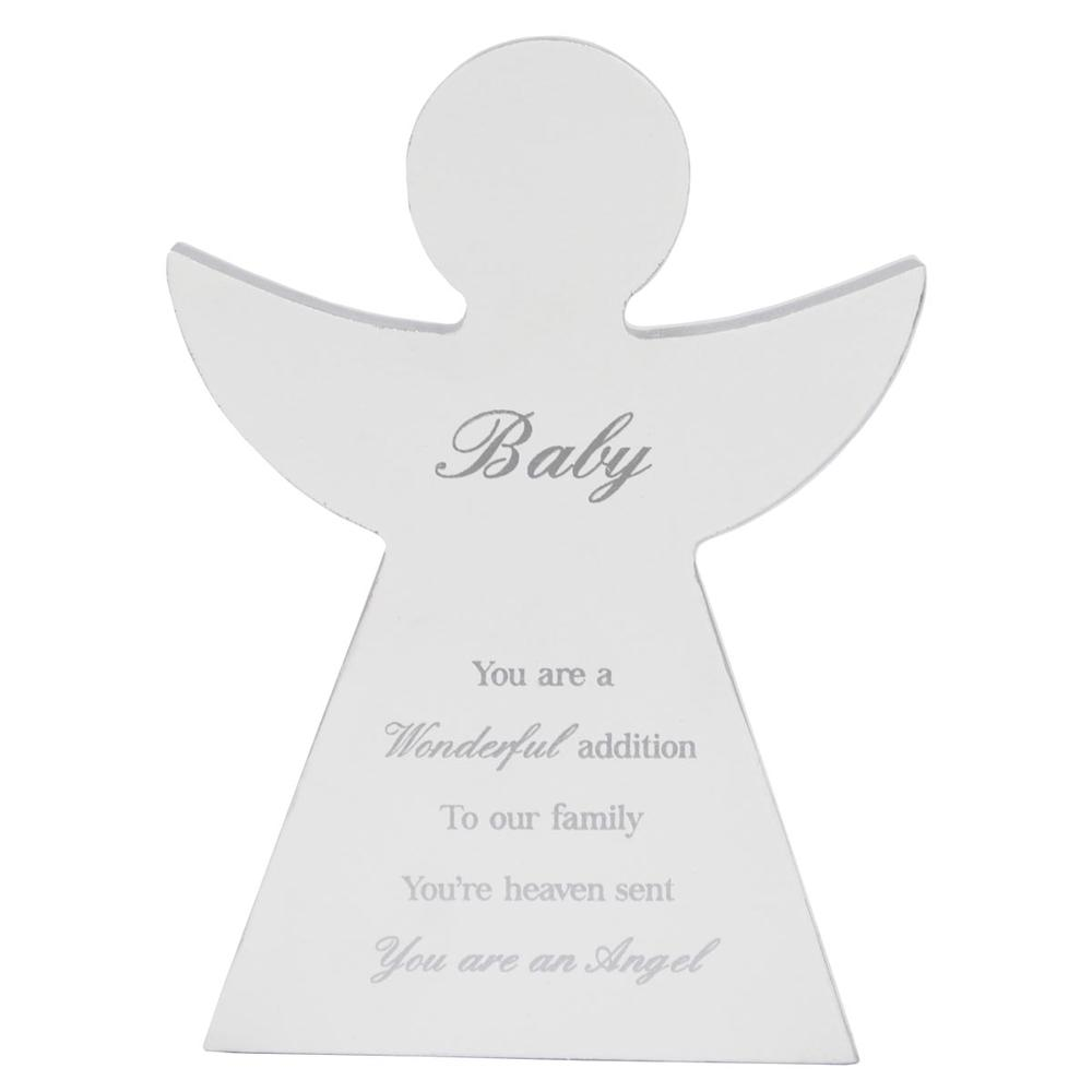 Baby Guardian Angel Block Standing Wooden Plaque