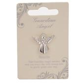 Auntie Guardian Angel Silver Coloured Angel Pin With Gem Stone