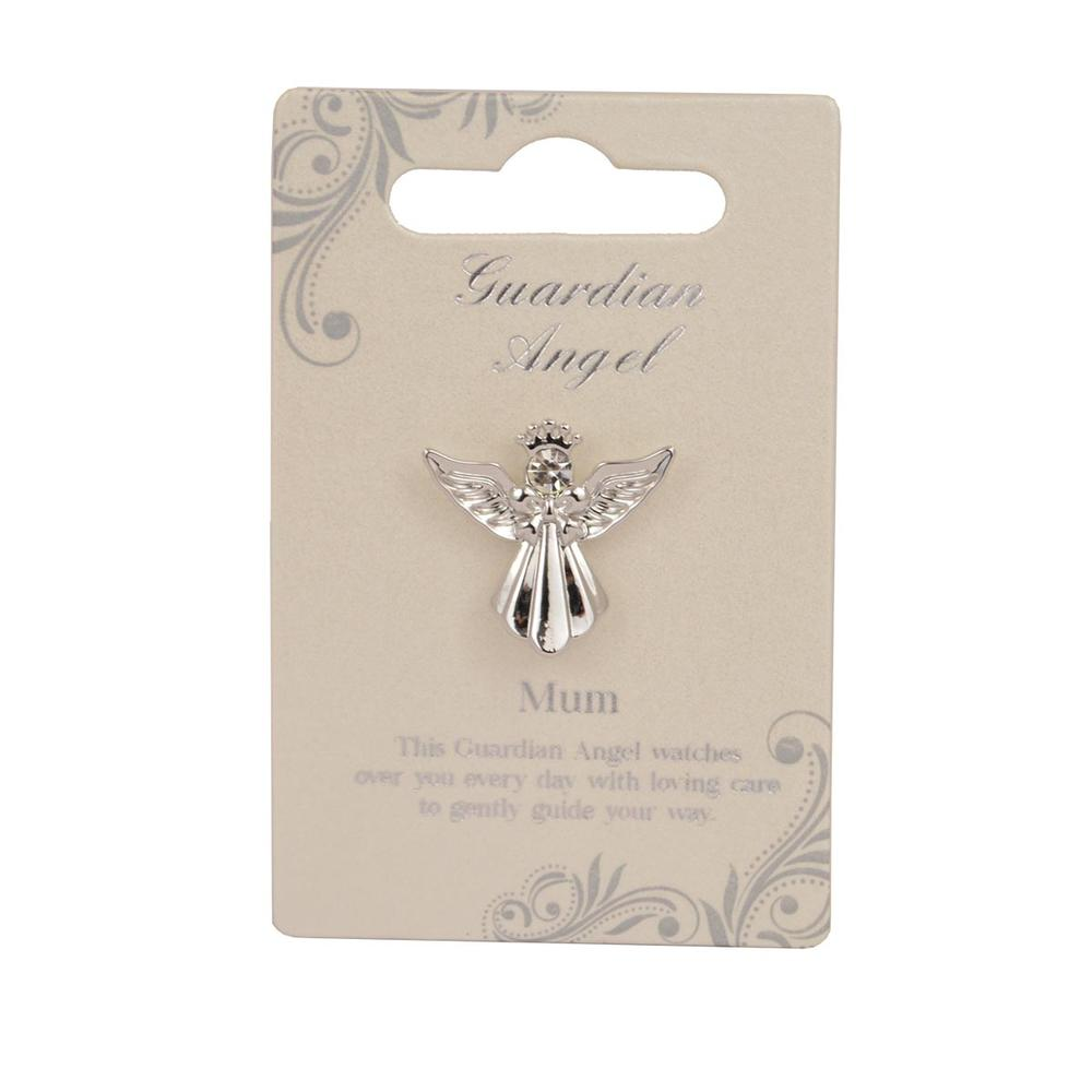 Mum Guardian Angel Silver Coloured Angel Pin With Gem Stone