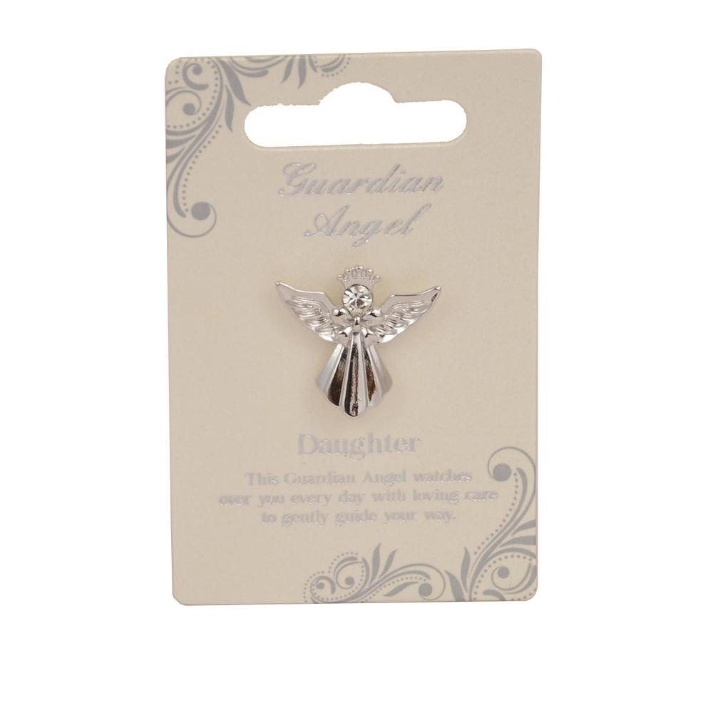 Daughter Guardian Angel Silver Coloured Angel Pin With Gem Stone