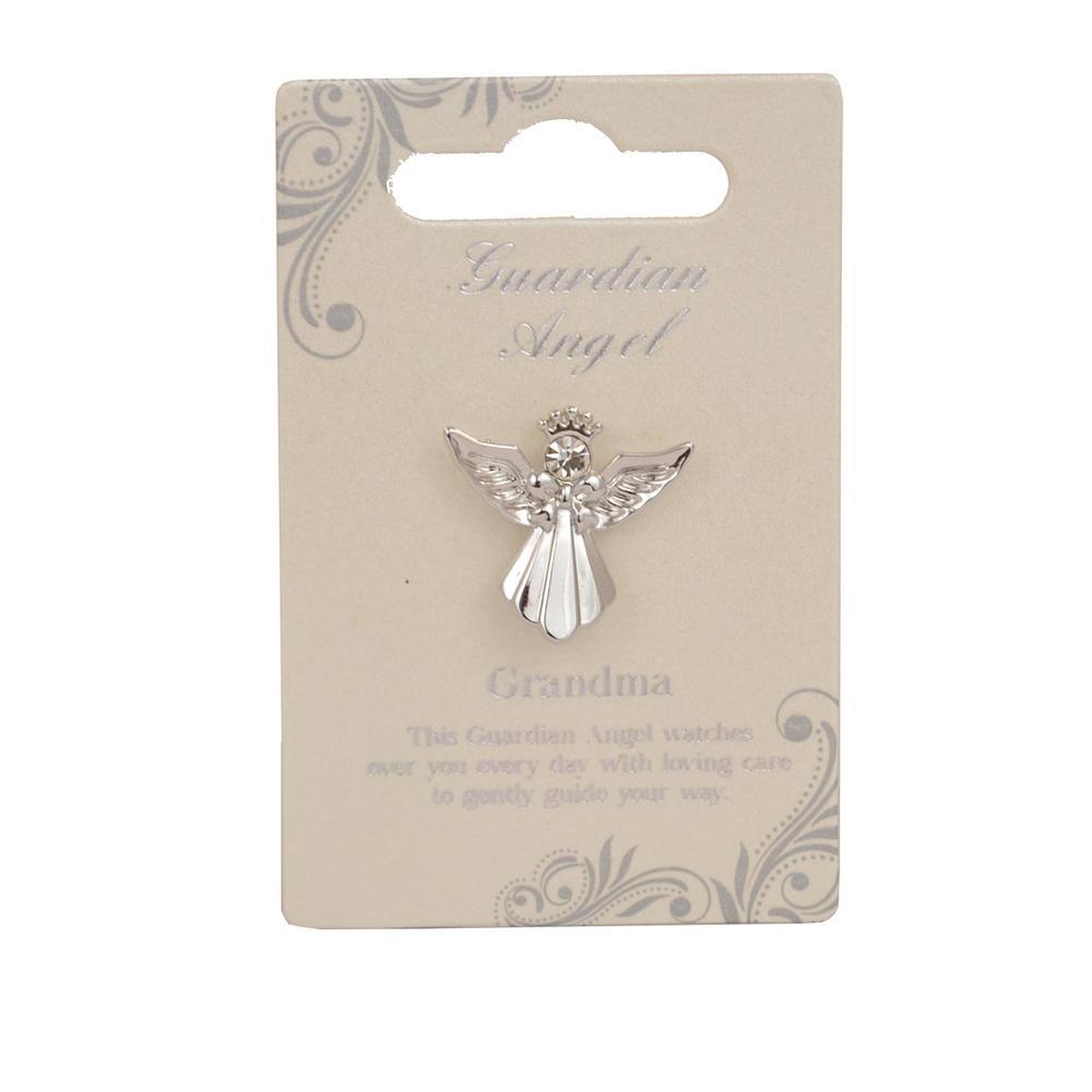 Grandma Guardian Angel Silver Coloured Angel Pin With Gem Stone