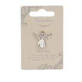 Grandma Guardian Angel Silver Coloured Angel Pin With Gem Stone