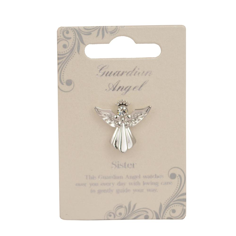 Sister Guardian Angel Silver Coloured Angel Pin With Gem Stone
