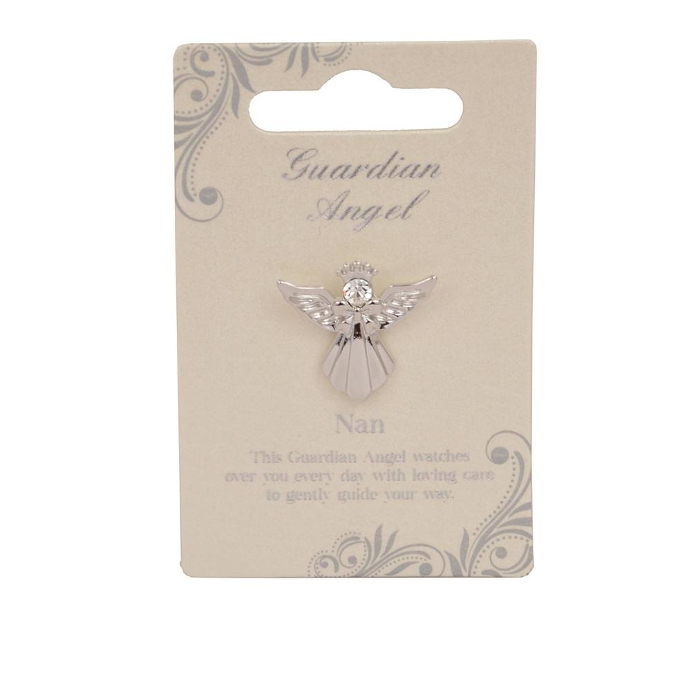 Nan Guardian Angel Silver Coloured Angel Pin With Gem Stone