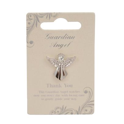 Thank You Guardian Angel Silver Coloured Angel Pin With Gem Stone