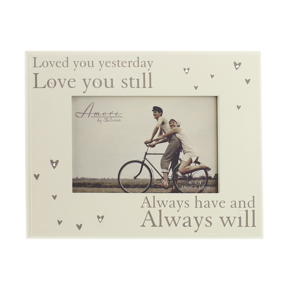 "Amore Love You Always Photo Frame In Cream Suits 6"" x 4"" Photos"