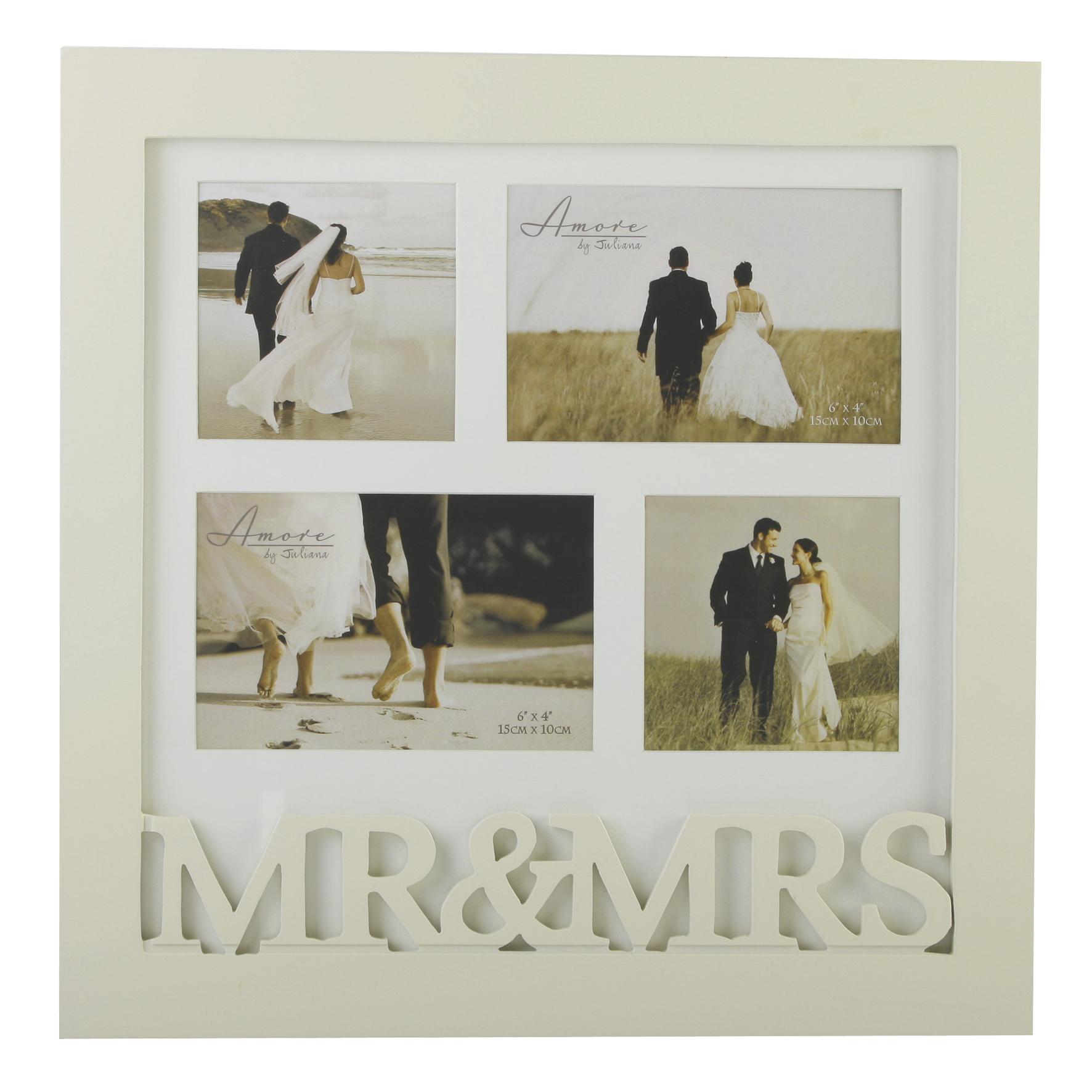 Amore Mr & Mrs Multi Aperture Collage Photo Frame In Cream ...