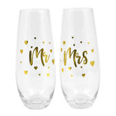 Mr & Mrs Wedding Day Stemless Champagne Flutes In Gift Box