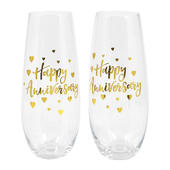 Wedding Anniversary Stemless Champagne Flutes In Gift Box