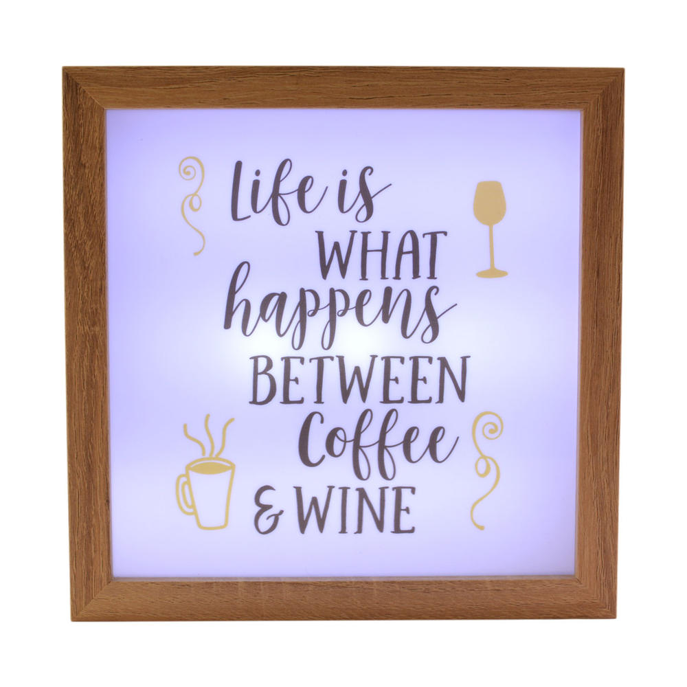 Life Happens Between Coffee & Wine Light Up Box