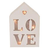 Love Light Up House Shaped White Wooden Block