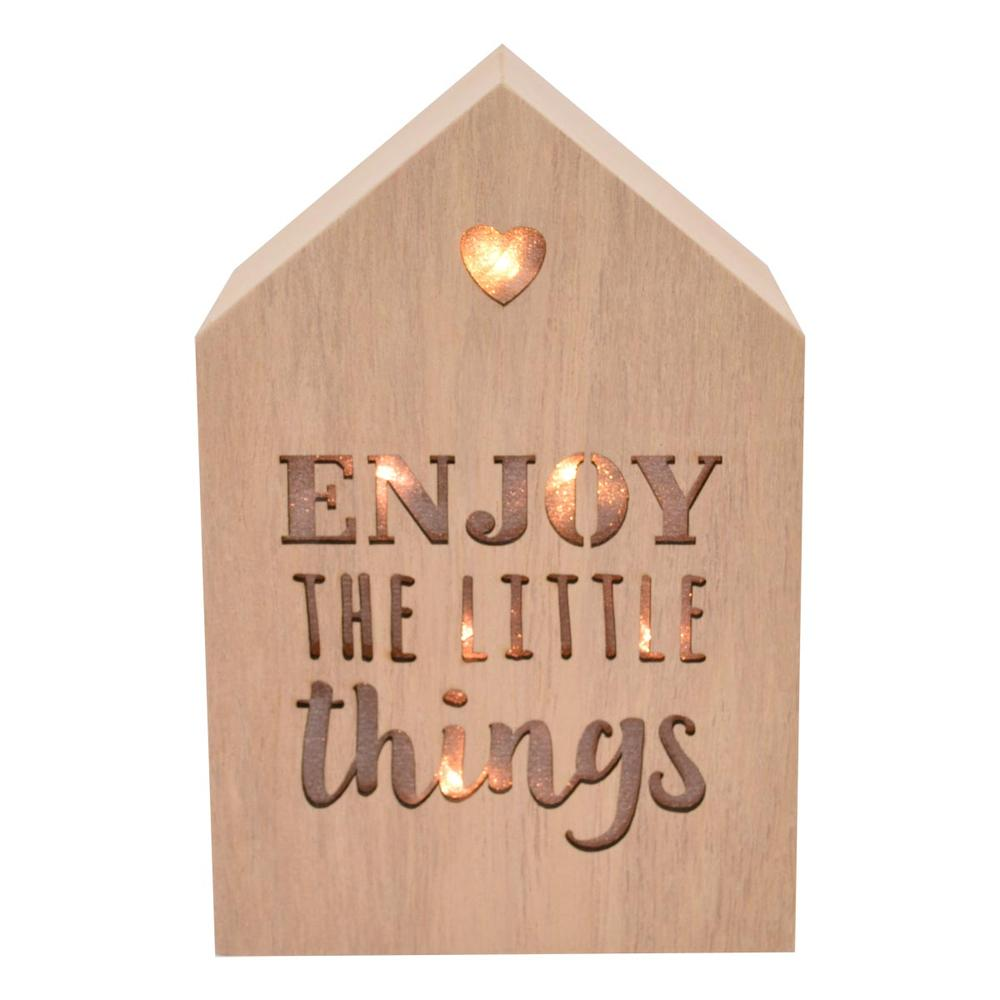 Enjoy The Little Things Light Up House Shaped Wooden Block