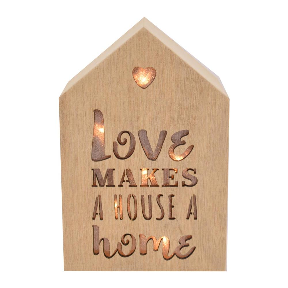 Love Makes A House A Home Light Up House Shaped Wooden Block