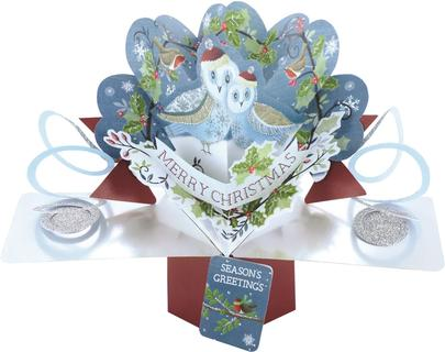 Christmas Owls Pop-Up Greeting Card