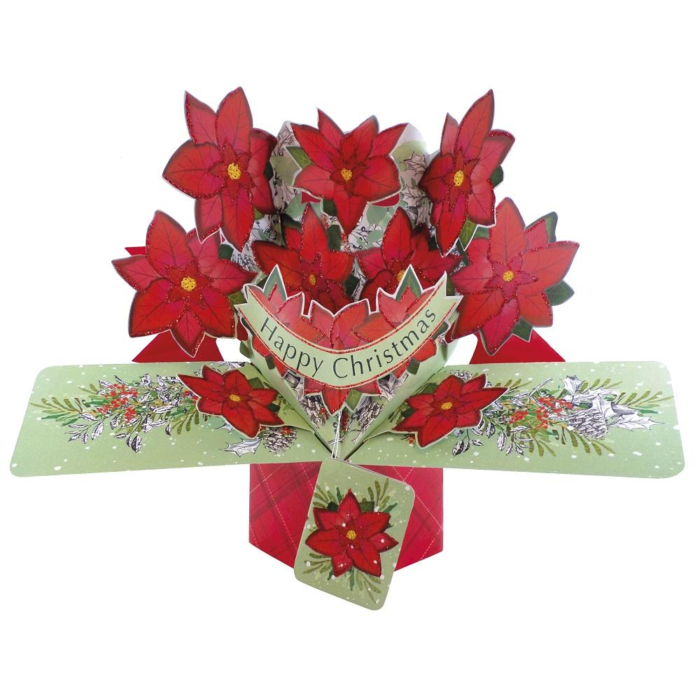 Happy Christmas Poinsettias Pop-Up Greeting Card