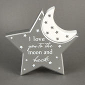 I Love You To The Moon & Back Star & Moon Plaques