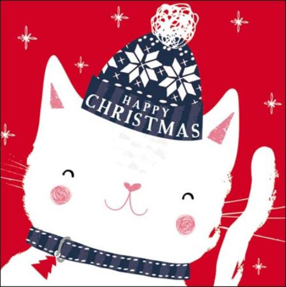 Pack of 5 Cute Cat Action For Children Charity Christmas Cards