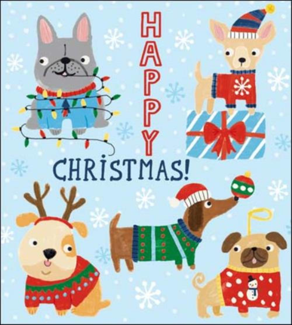 Pack of 5 Dogs In Jumpers Action For Children Charity Christmas Cards