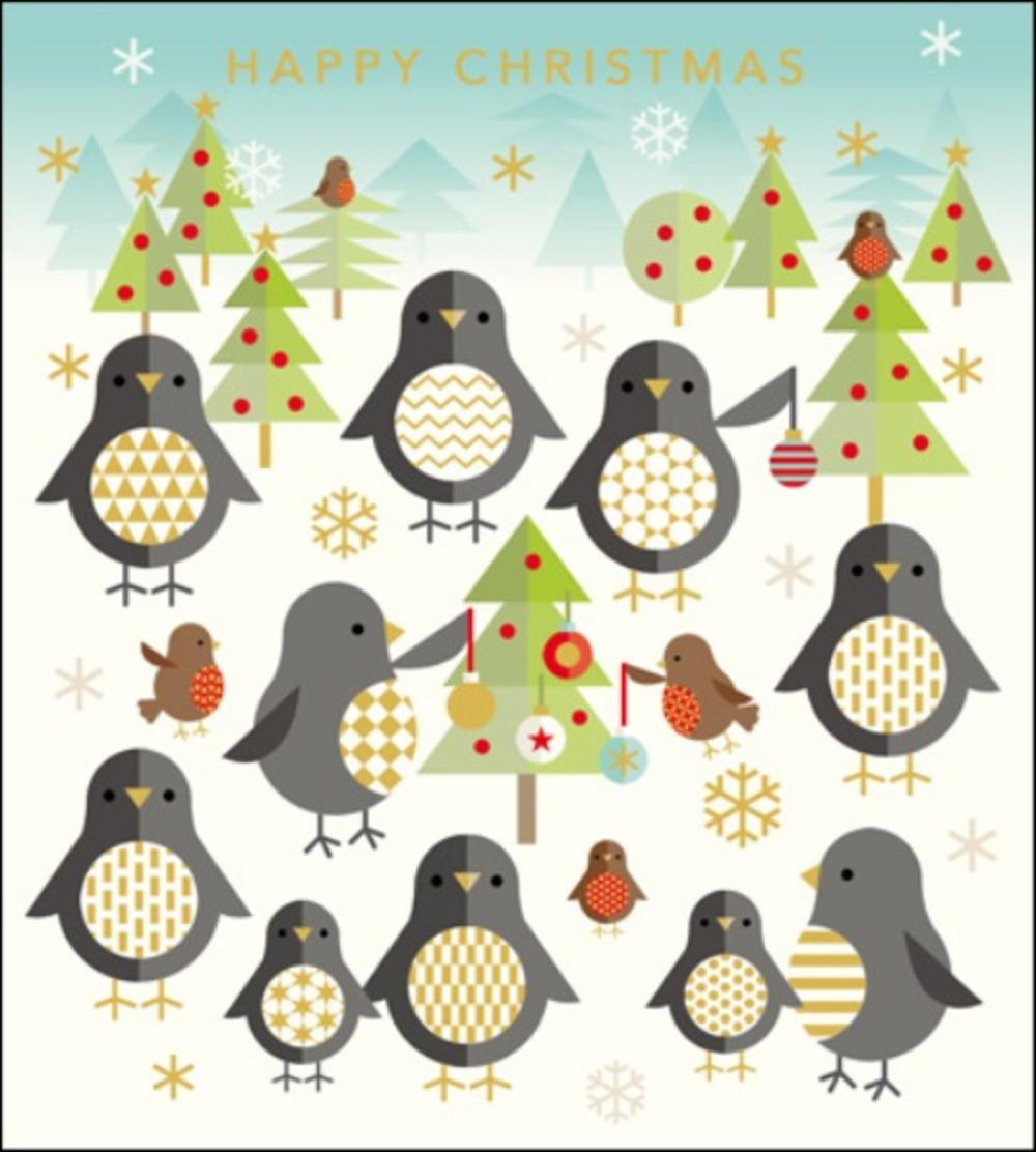 pack of 5 xmas penguins rnli lifeboats charity christmas cards