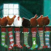 Pack of 5 Hens Stockings British Heart Foundation Charity Christmas Cards