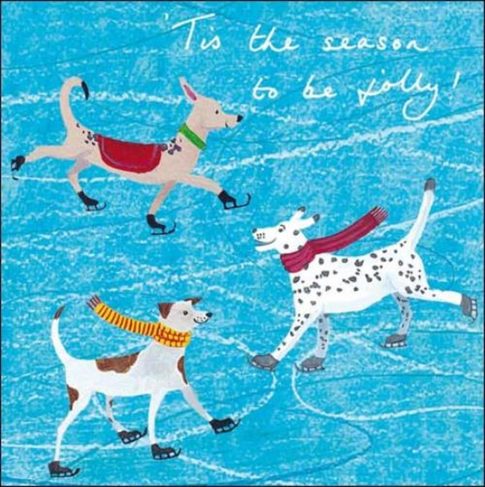 Pack of 5 Skating Dogs British Heart Foundation Charity Christmas Cards
