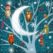 Pack of 5 Xmas Owls British Heart Foundation Charity Christmas Cards