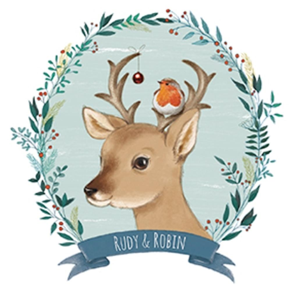 Pack of 8 Mini Rudy & Robin Woodland Trust Charity Christmas Cards
