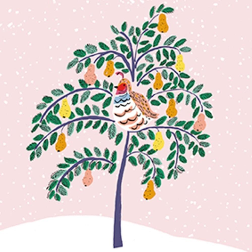 Pack of 8 Mini Partridge Pear Tree Shelter Charity Christmas Cards