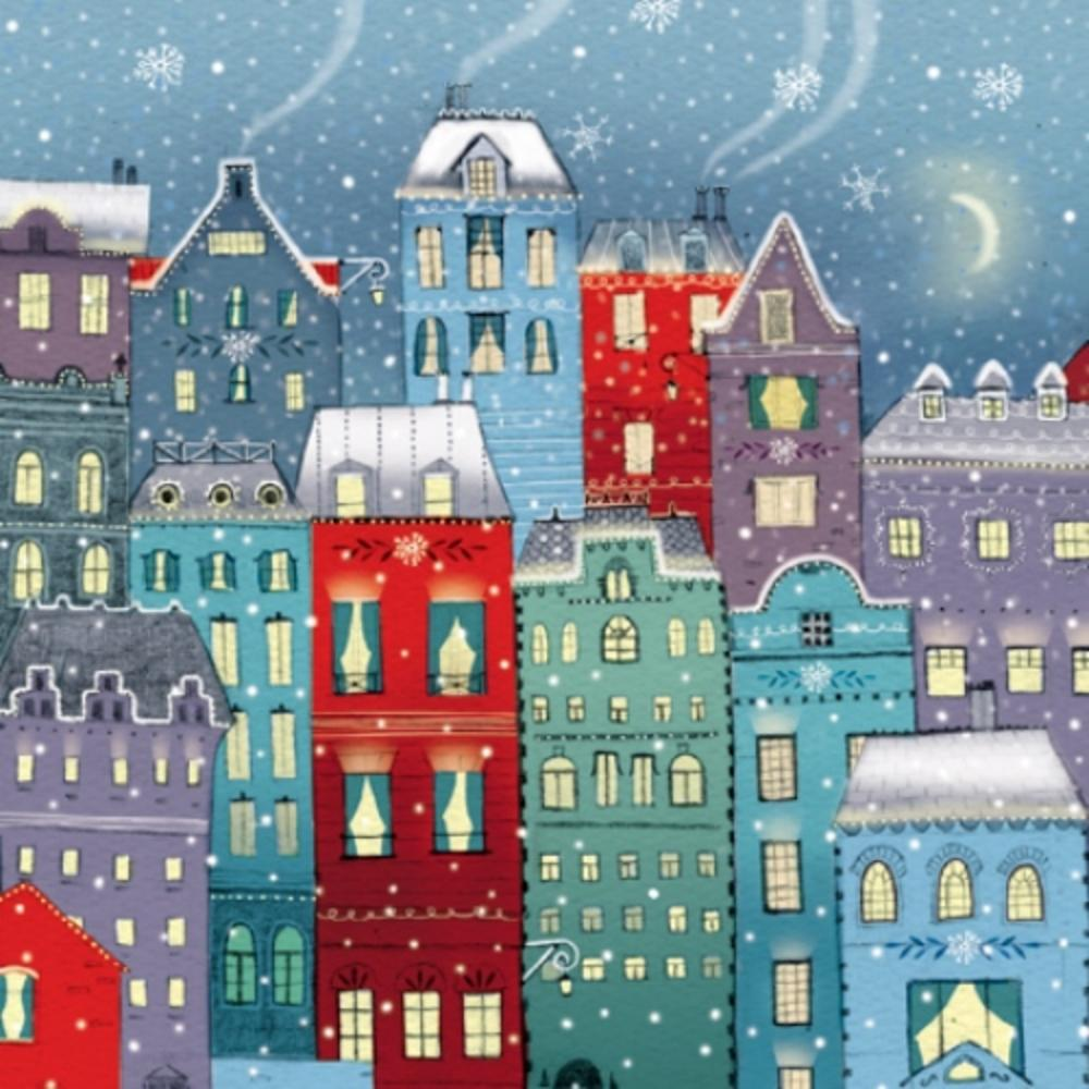 Pack of 8 Winter Rooftops Shelter Fairdeal Charity Christmas Cards
