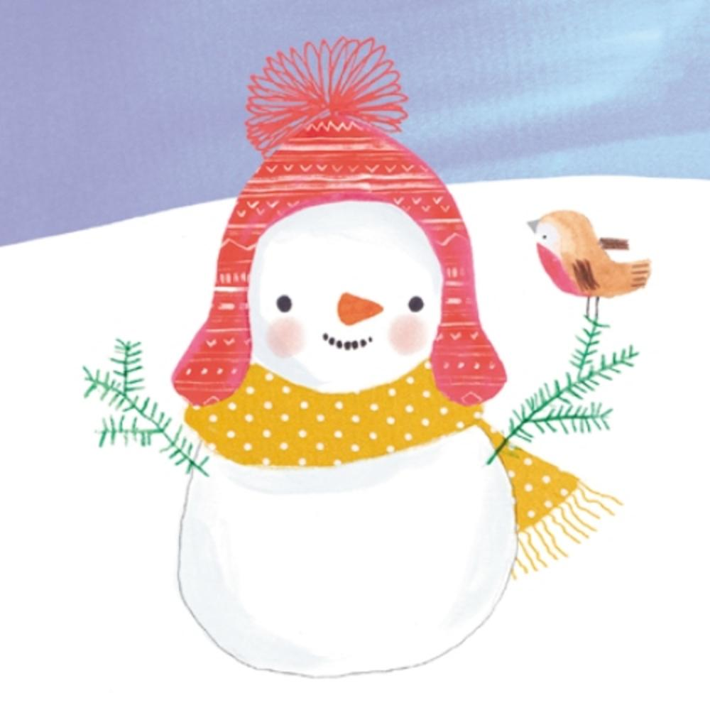 Pack of 8 Snowman & Robin Shelter Fairdeal Charity Christmas Cards