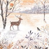 Pack of 8 Snowy Sunrise Woodland Trust Fairdeal Charity Christmas Cards