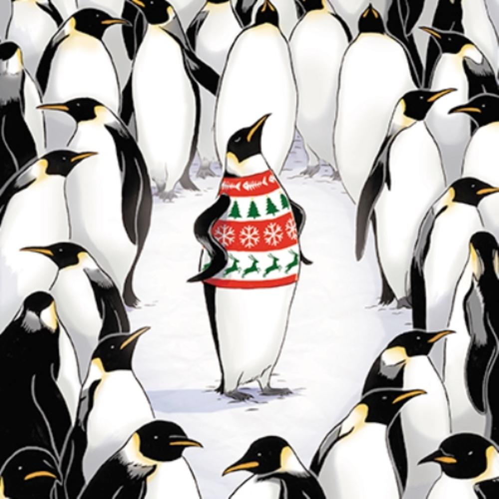 Pack of 6 Penquins Charity Christmas Cards Supports Multiple Charities