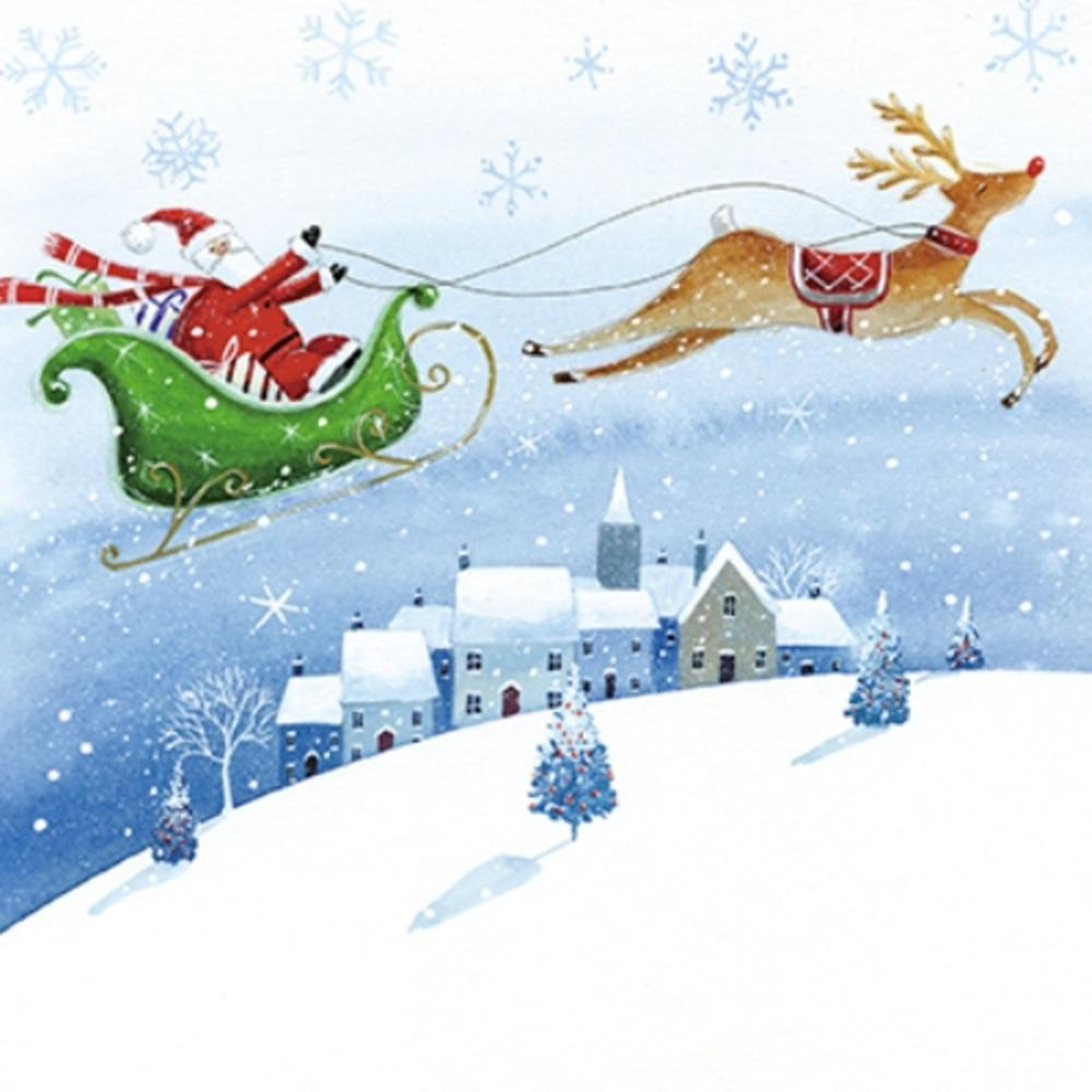 Pack of 6 Santa & Sleigh Charity Christmas Cards Supports Multiple Charities