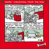 Merry Christmas From The Dog Off The Leash Cartoon Dog Humour Christmas Card