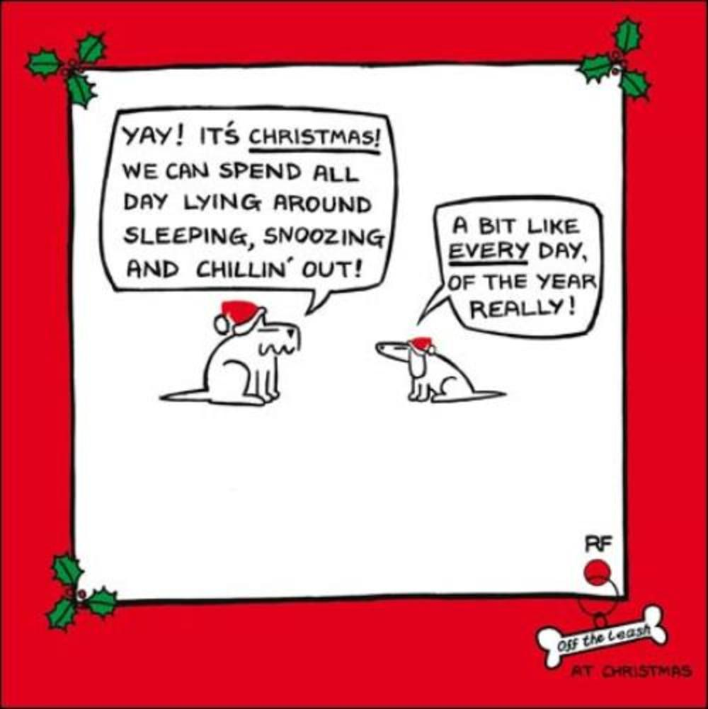 Yay It's Christmas! Funny Off The Leash Cartoon Dog Humour Christmas Card