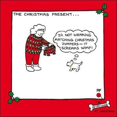 Christmas Jumper Funny Off The Leash Cartoon Dog Humour Christmas Card