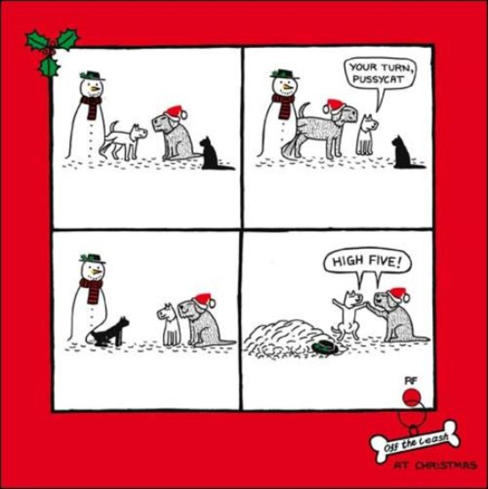 Dog V's Cat Funny Off The Leash Cartoon Dog Humour Christmas Card