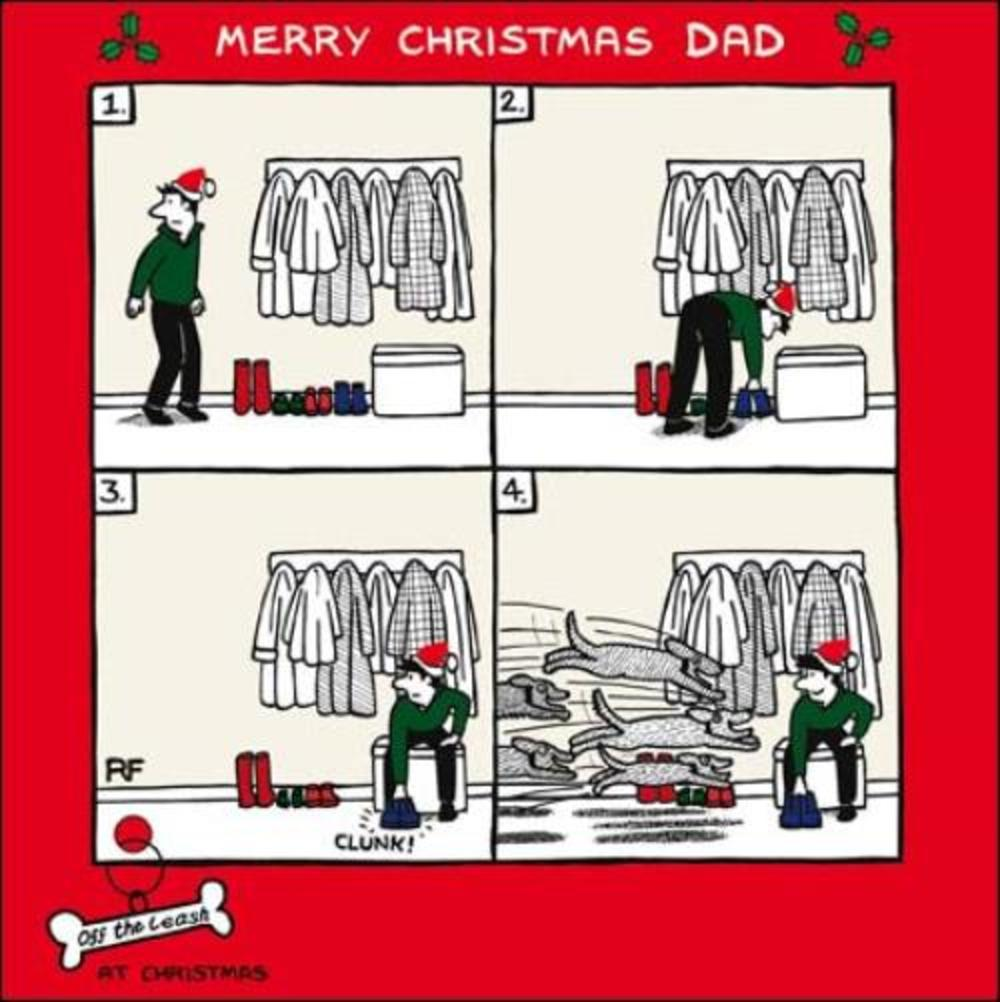 Merry Christmas Dad Funny Dog Off The Leash Cartoon Dog Humour Christmas Card