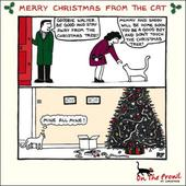 Merry Christmas From The Cat On The Prowl Cartoon Cat Humour Christmas Card