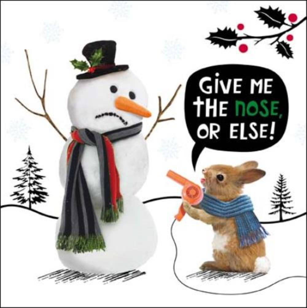 Snowman Nose Funny Crackerjack Greeting Card