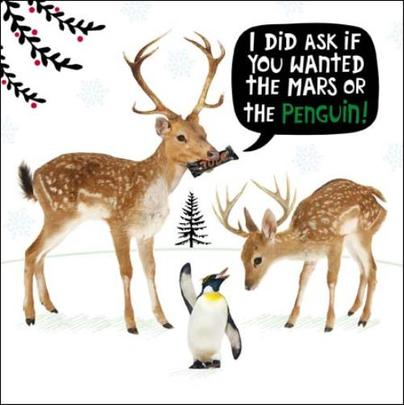 Mars Or Penguin Funny Crackerjack Christmas Card