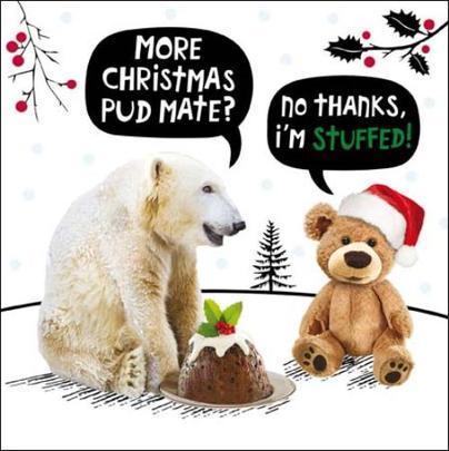 More Pud Mate? Funny Crackerjack Christmas Card