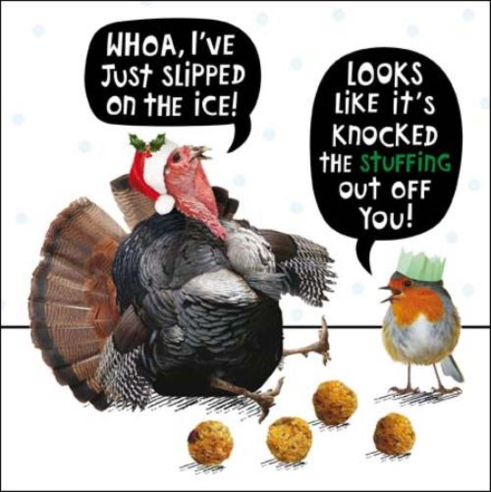 Turkey Stuffing Funny Crackerjack Christmas Card