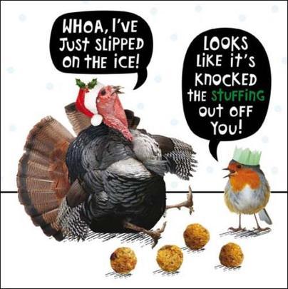Turkey Stuffing Funny Crackerjack Christmas Card