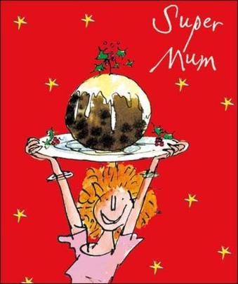 Super Mum Quentin Blake Christmas Greeting Card