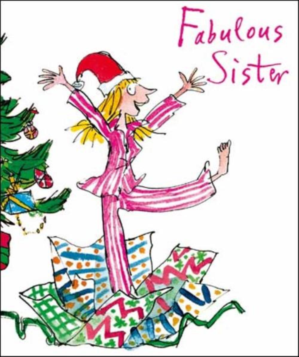 Fabulous Sister Quentin Blake Christmas Greeting Card