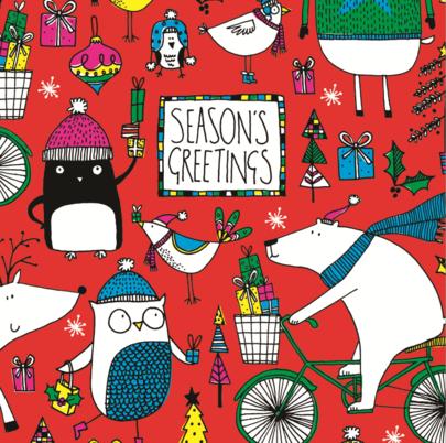 Pack of 10 Season's Greetings RSPCA Charity Christmas Cards