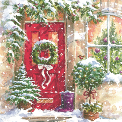 Pack of 10 Holly Wreath Marie Curie Charity Christmas Cards