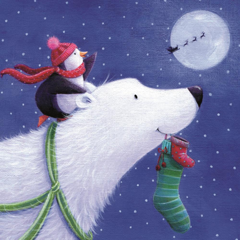 Pack of 10 Polar Bear NSPCC Charity Christmas Cards