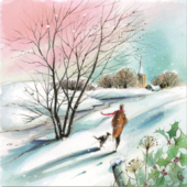 Pack of 10 Winter Walkies Samaritans Charity Christmas Cards